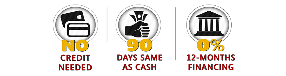 No Credit Needed. 90-Days Same as Cash. 0% 12-month Financing.